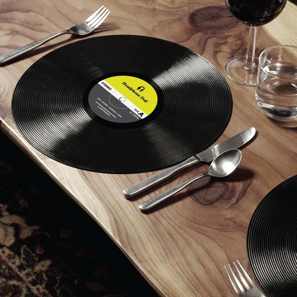 HeadphoneDog 唱片造型桌墊/餐墊/點心墊一組(2入)