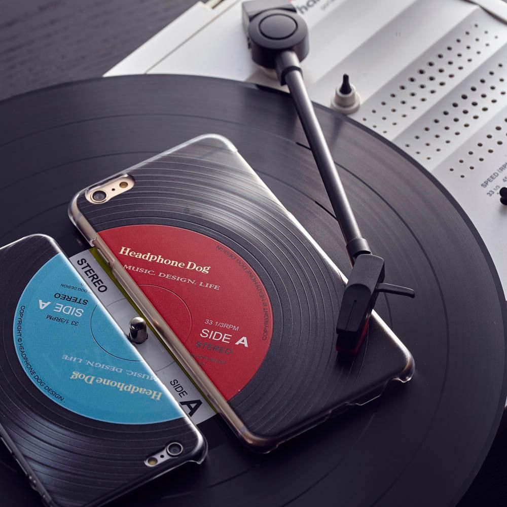 HeadphoneDog|黑膠立體刻紋iPhone手機殼-經典藍