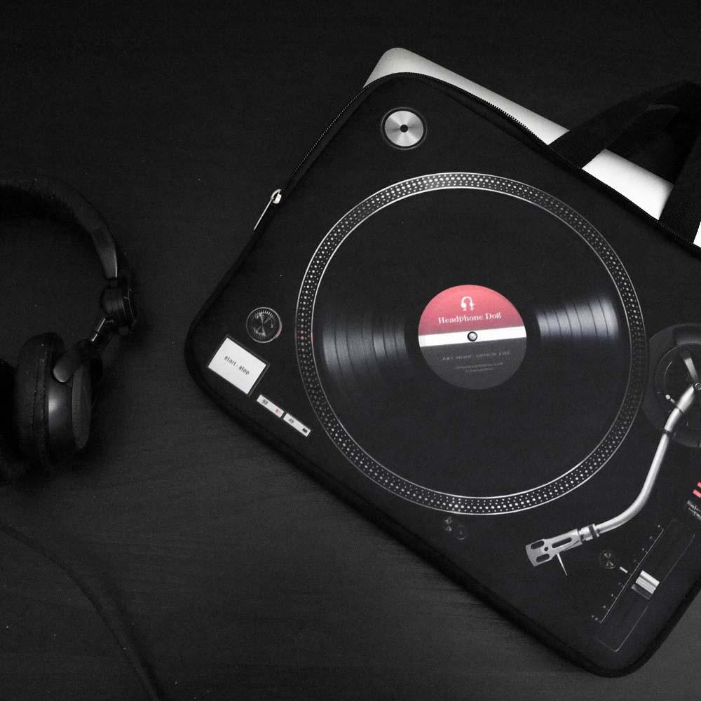 HeadphoneDog|時尚唱盤筆電包13/15-經典黑