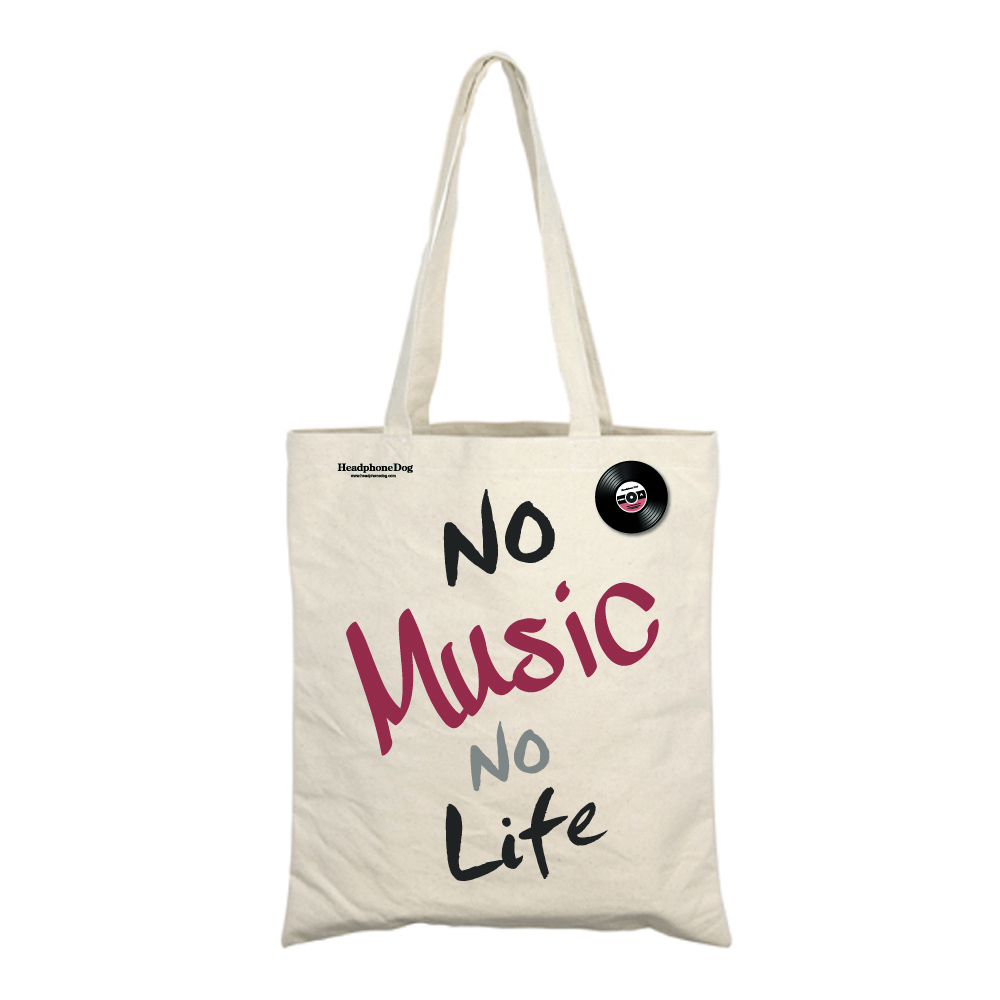 HeadphoneDog 經典No Music No Life 購物袋(附金屬黑膠徽章)
