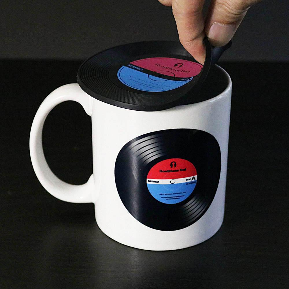 HeadphoneDog|黑膠唱片隔熱杯墊/杯蓋一組(2入)