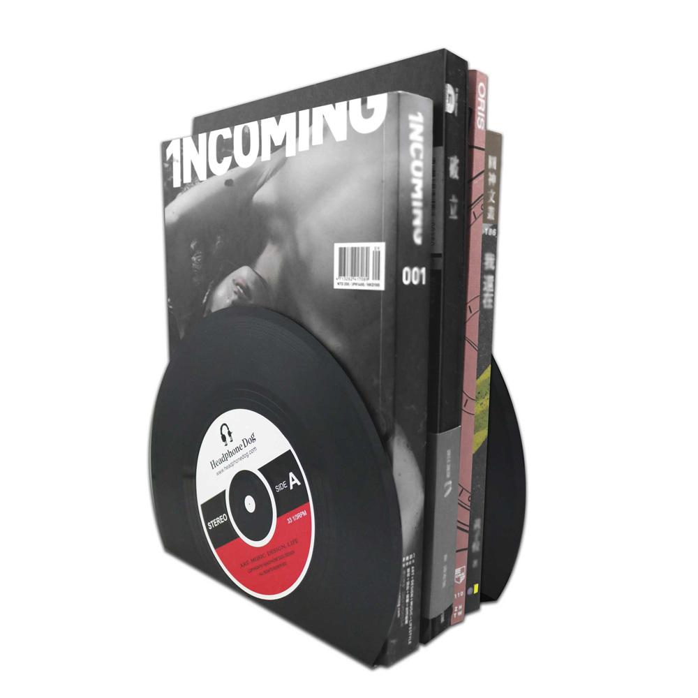 HeadphoneDog 黑膠唱片造型書擋雜誌架一組2入