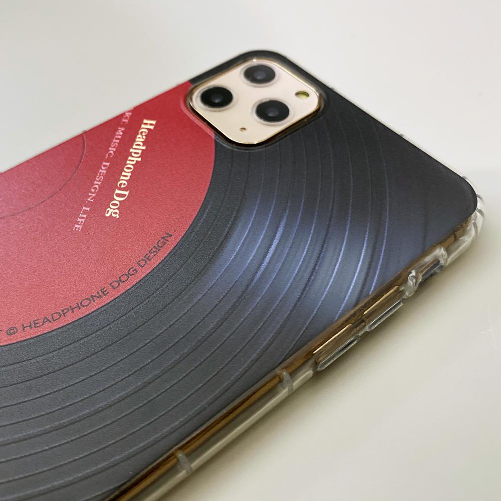 HeadphoneDog iPhone11防摔立體唱片紋路手機殼-經典紅