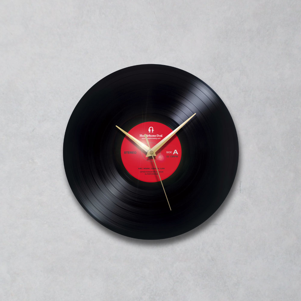 HeadphoneDog|手工黑膠唱片時鐘-經典紅