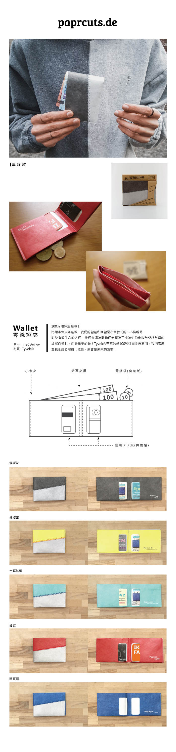 paprcuts|車線款-零錢短夾(橘紅)