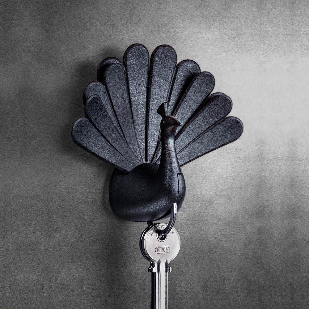 QUALY|孔雀開屏-鑰匙圈(黑)