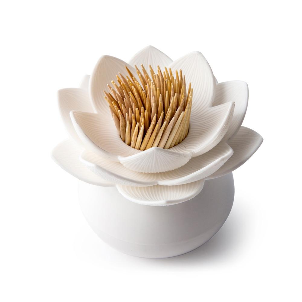 QUALY|蓮花好剔-牙籤罐(白+白)