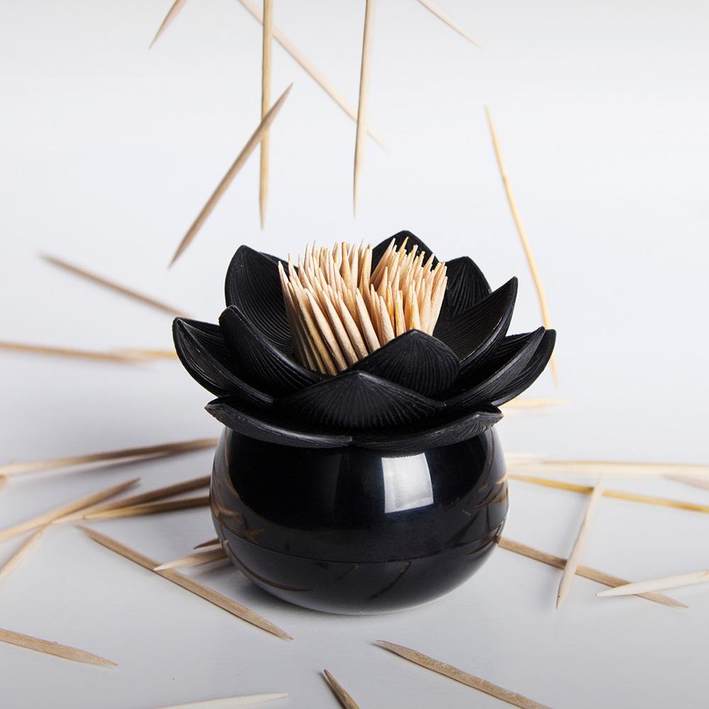 QUALY|蓮花好剔-牙籤罐(黑+黑)