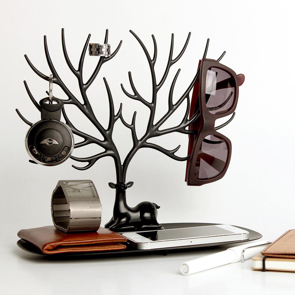 QUALY|森林鹿角S-飾品架(黑)