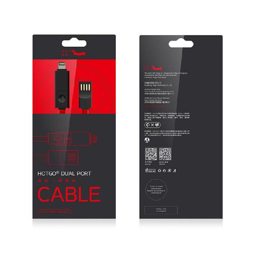 HOTGO|T1 雙頭傳輸線- iPhone/Micro USB 紅黑