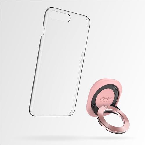 Rolling Ave.|iCircle Uni iPhone 8 / 7 多功能支架保護殼 - 粉色玫瑰金環
