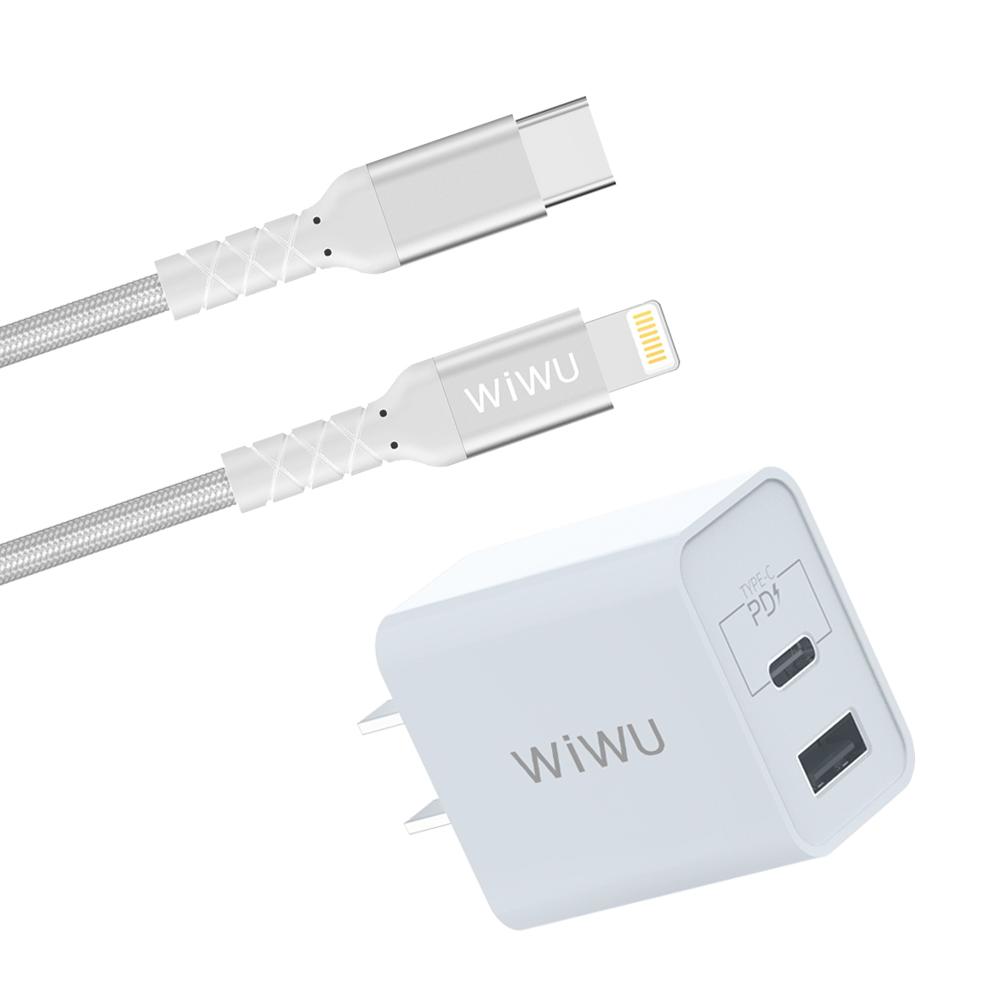 WiWU | 組合包Type-C to Lightning MFI認證PD快充數據傳輸線+PD與QC3.0-18W快充充電器