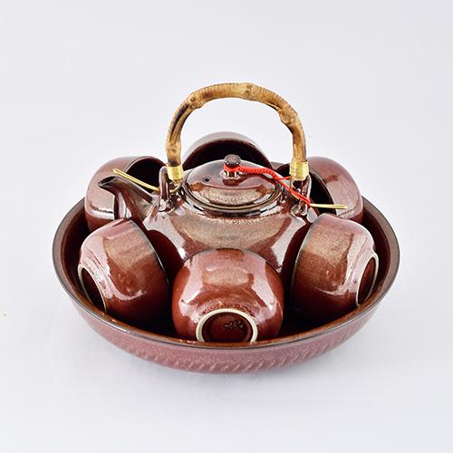 美濃窯 六色/鐵紅/古色茶具組
