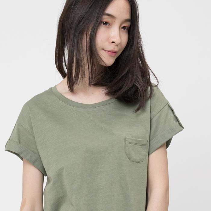 好我 so that′s me|竹節棉褶袖鈕扣上衣/軍綠