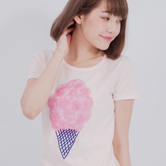 好我 so that′s me 棉花糖冰淇淋短袖蜜桃棉女T