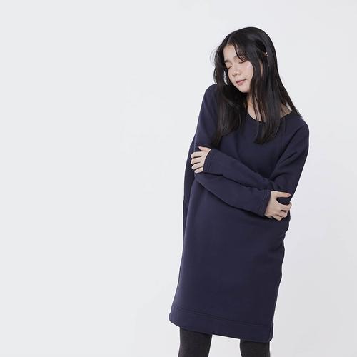 好我 so that′s me|Bonnie暖窩刷毛口袋剪接洋裝深藍