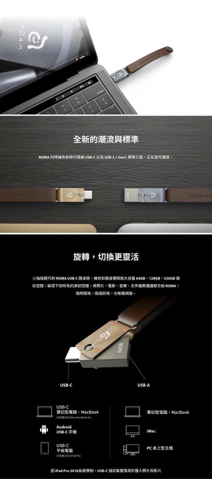 ADAM|USB-C周邊擴充組 Hub Pro USB-C 11 合 1 多功能轉接器 + ROMA 256GB 高速讀寫旋轉隨身碟