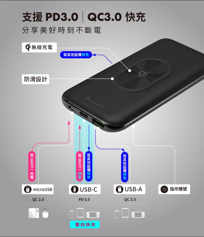 ADAM|GRAVITY 2 USB-C PD / QC 3.0 10W Qi認證 無線快充行動電源