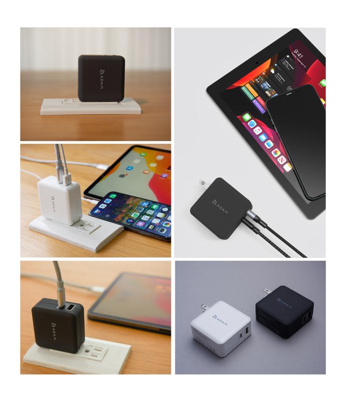 ADAM|蘋果快充組 OMNIA F2 USB-C PD / QC 3.0 雙口充電器 30W 白 + C120B 銀
