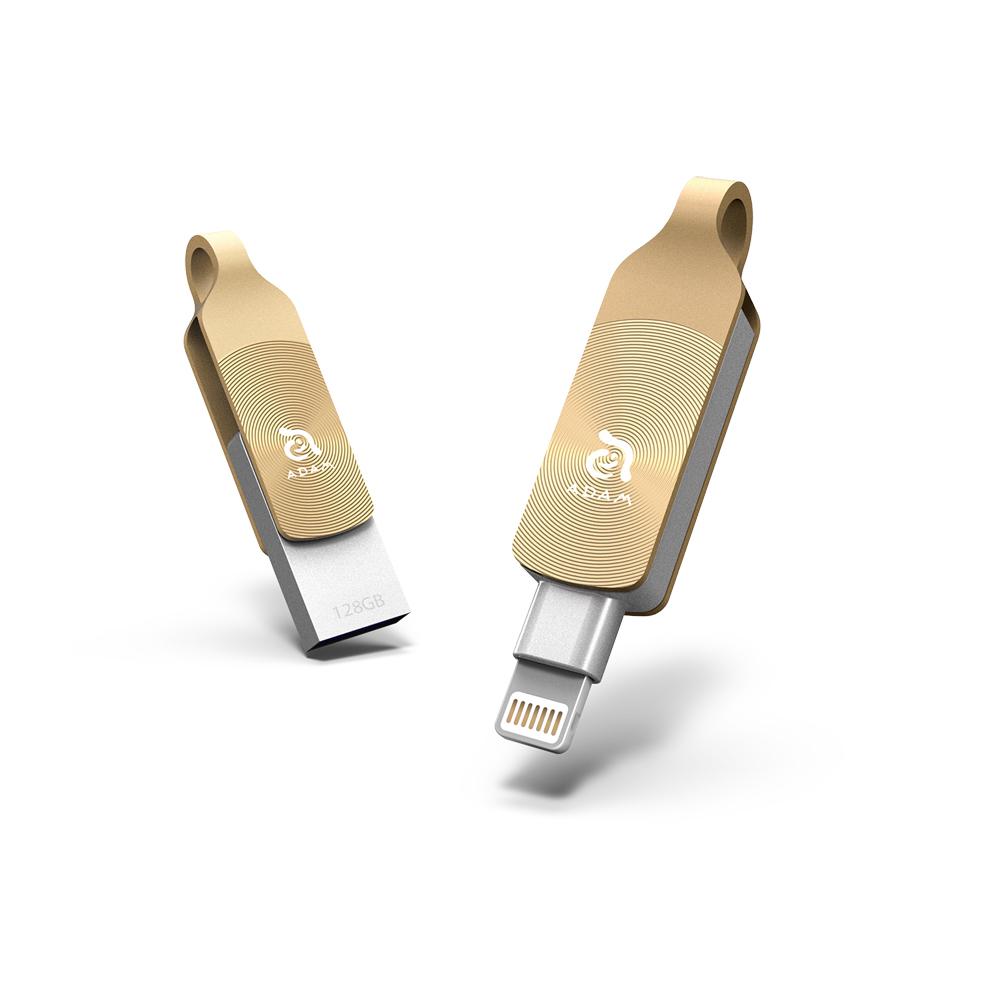 ADAM|iKlips DUO+ 128GB USB3.1 蘋果iOS 雙向隨身碟 金