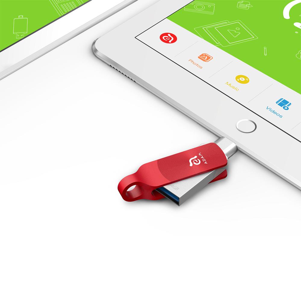 ADAM|iKlips DUO+ USB3.1 iOS極速雙向隨身碟 64GB 紅