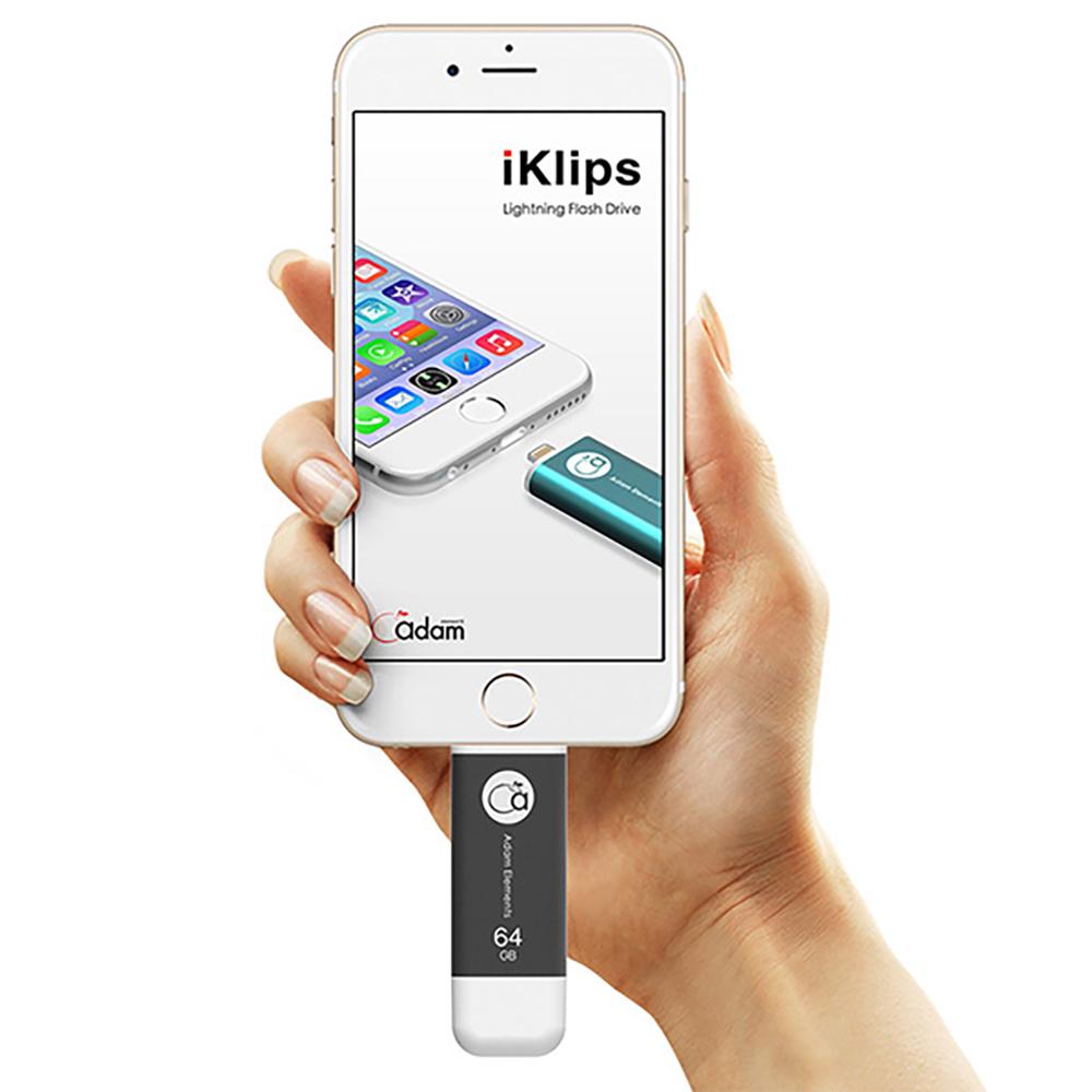 ADAM|iKlips 蘋果iOS USB3.1極速雙向隨身碟 64GB 灰
