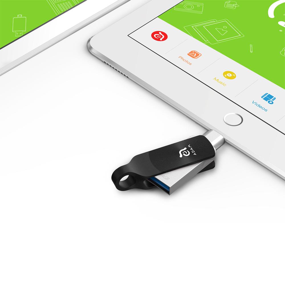 ADAM|iKlips DUO+ USB3.1 iOS極速雙向隨身碟 64GB 黑