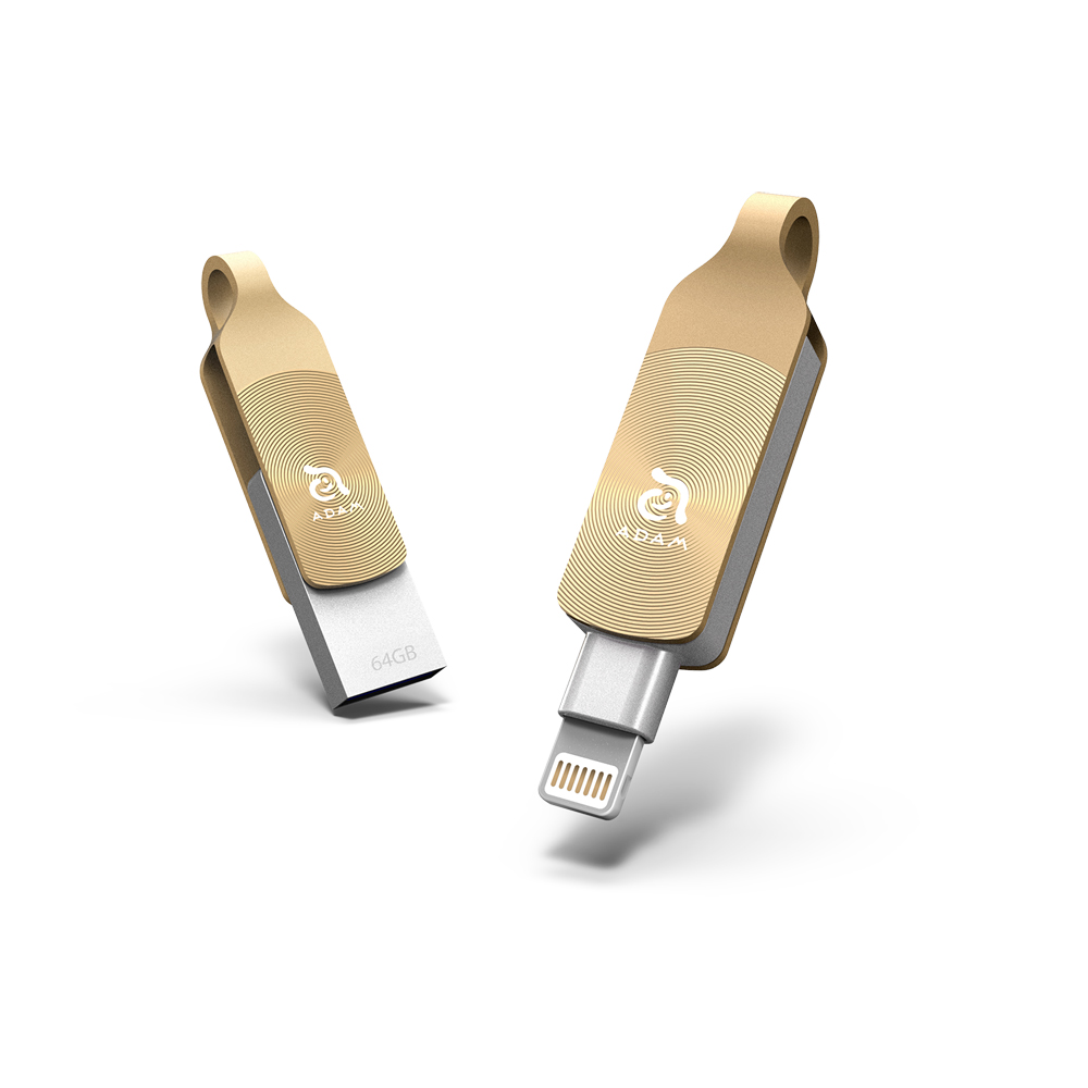 ADAM|iKlips DUO+ USB3.1 iOS極速雙向隨身碟 64GB 金