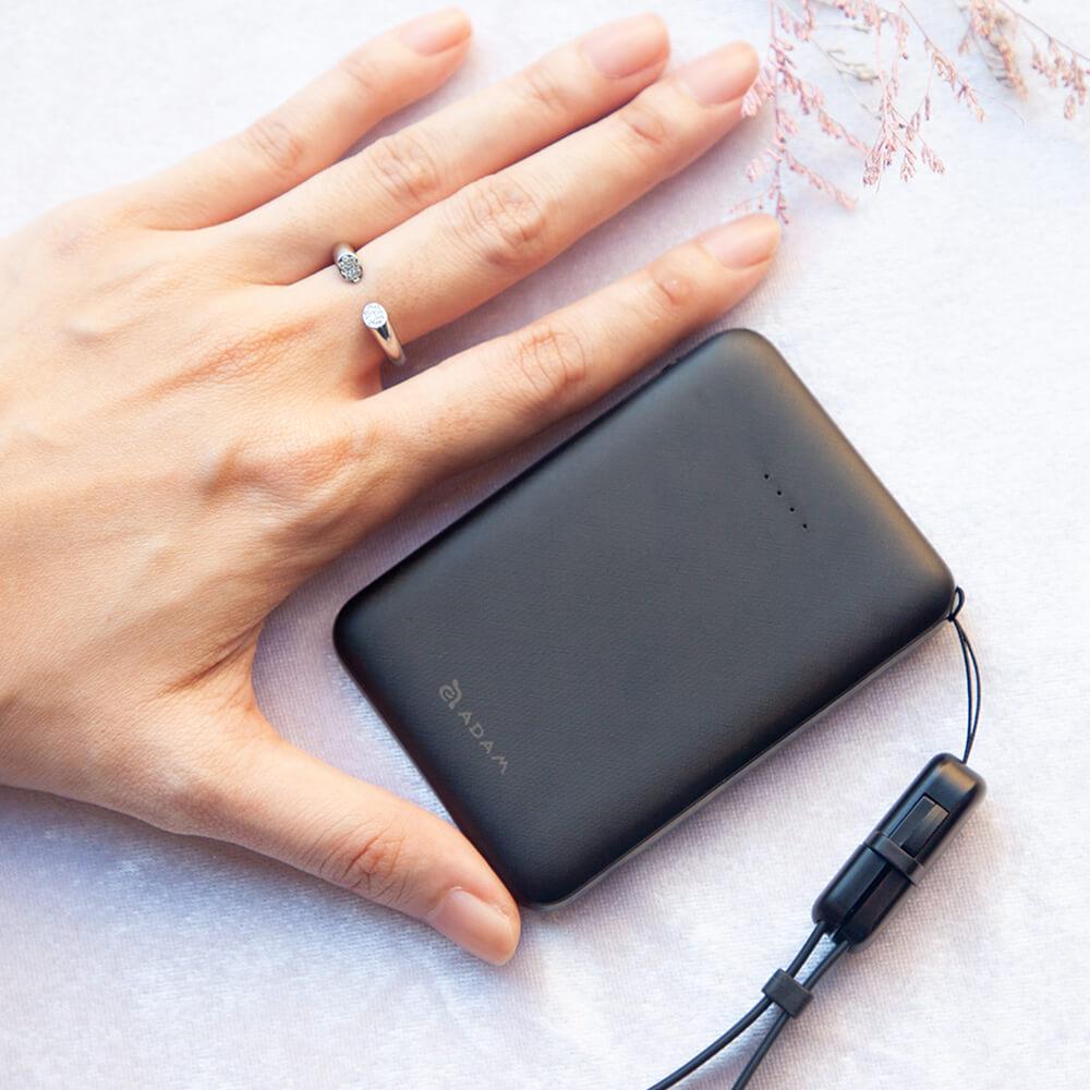 ADAM|蘋果充電組 GRAVITY mini 超輕薄 雙輸出 行動電源 5000mAh + PeAk II 充電傳輸線 0.2M