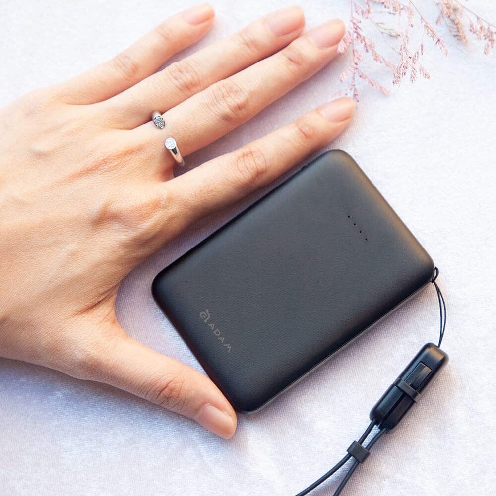 ADAM|蘋果充電組 GRAVITY mini 超輕薄 雙輸出 行動電源 5000mAh + 90°彎頭 充電傳輸線 0.3M