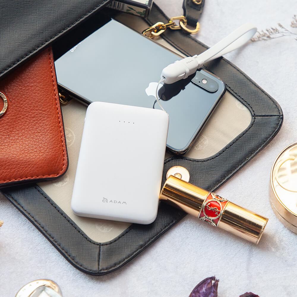 ADAM|USB-C充電組 GRAVITY mini 超輕薄 雙輸出 行動電源 5000mAh + USB-C充電傳輸線 0.3M