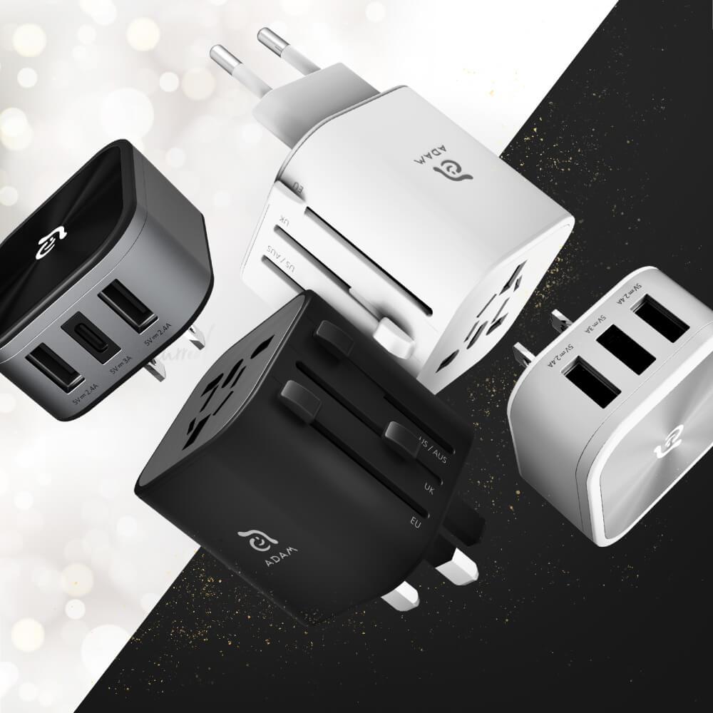 ADAM|OMNIA T3 (2入) 多功能 6 合 1 旅行萬國轉接頭充電器