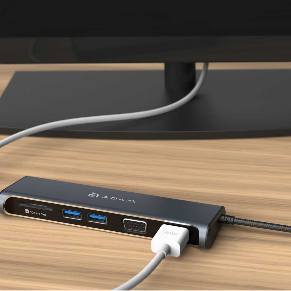 ADAM|Hub A03 USB-C 5 合 1 多功能轉接器 灰