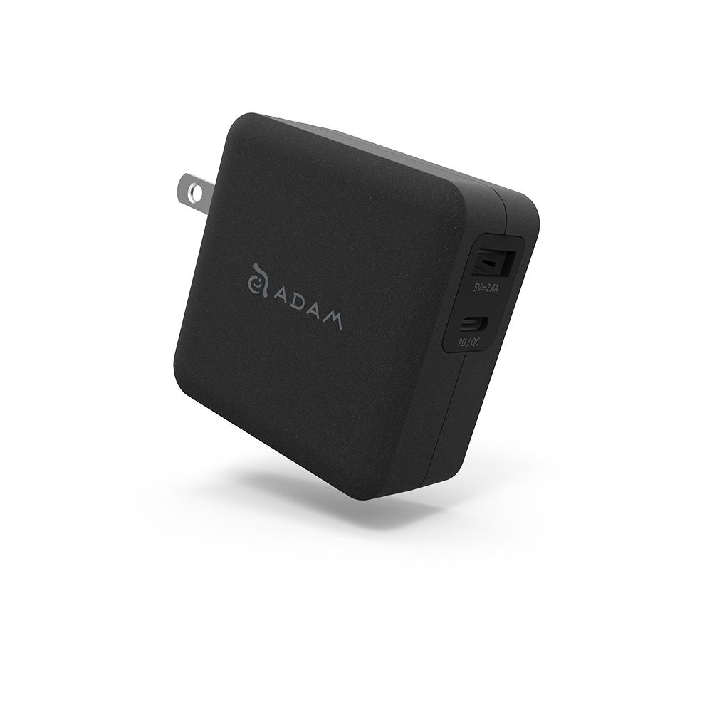 ADAM 蘋果快充組 OMNIA F2 USB-C PD / QC 3.0 雙口充電器 30W 黑 + C120B 黑