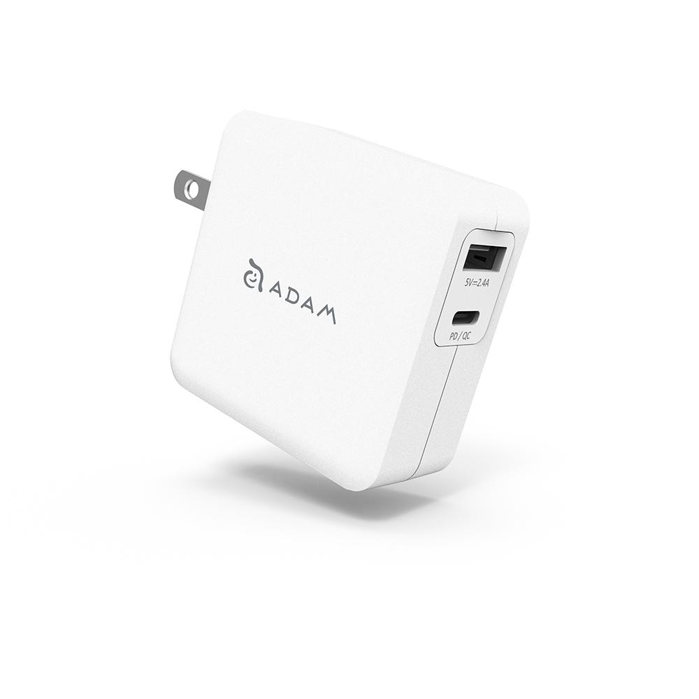 ADAM OMNIA F2 USB-C PD / QC 3.0 雙口充電器 30W 白