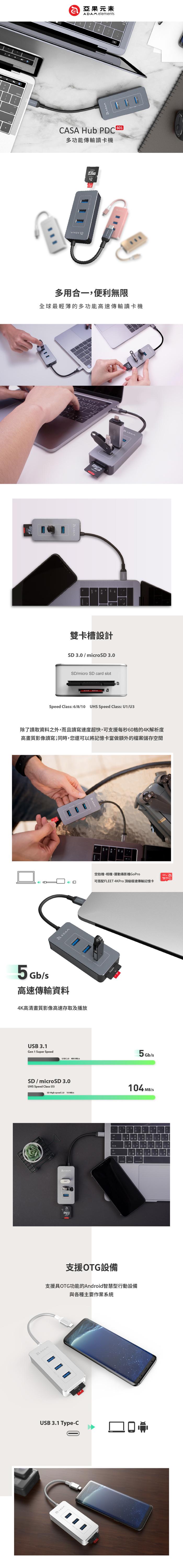 ADAM|Hub PDC601 六合一 80W多功能PD充電傳輸讀卡機