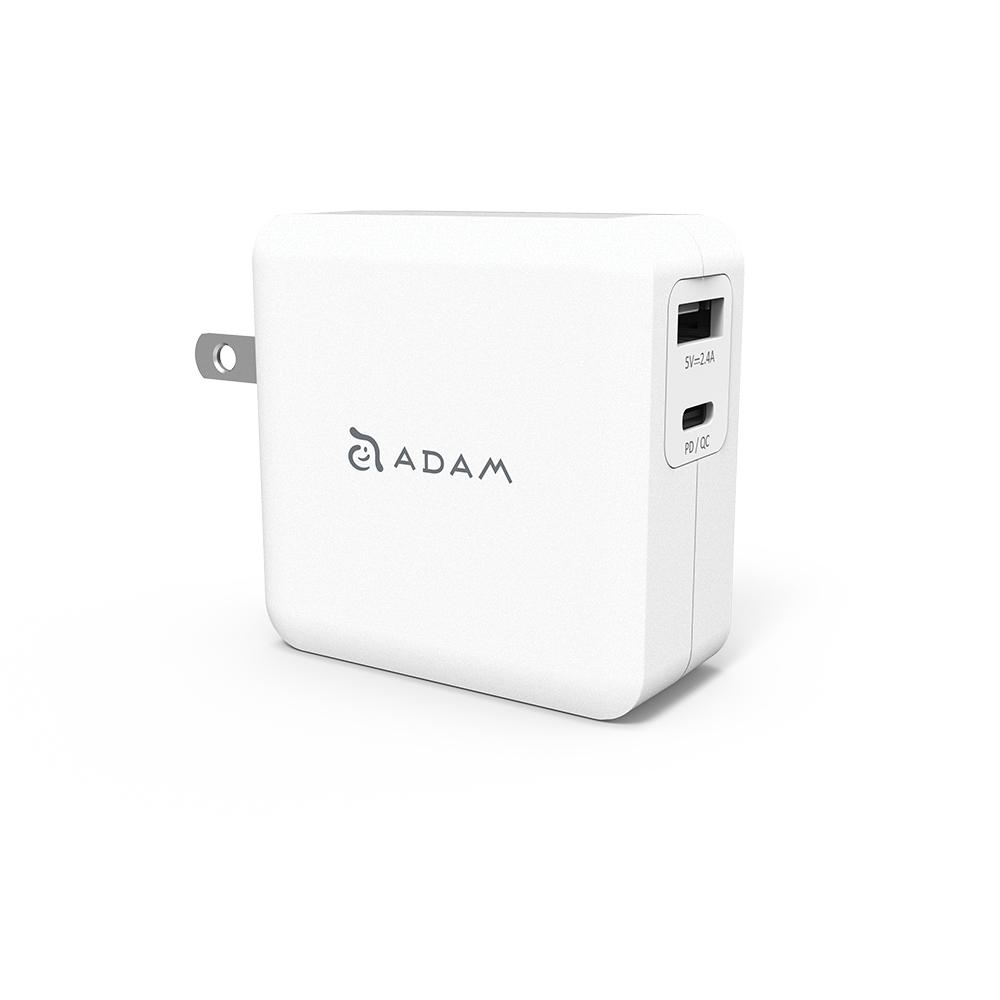 ADAM|【組合】OMNIA F2 USB-C PD / QC 3.0 雙口充電器 30W 白 + C120B 紅『 iPhone 12專用』