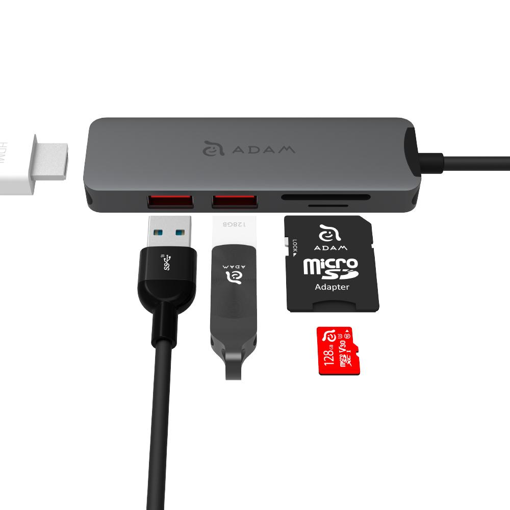 ADAM CASA Hub A05 USB-C Gen2 五合一多功能高速集線器 灰