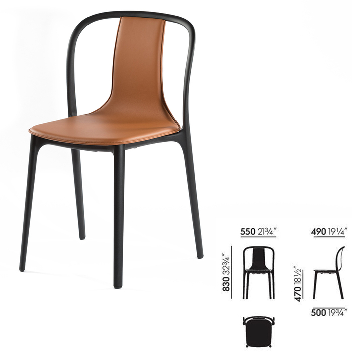 (複製)北歐櫥窗 Vitra|Belleville Armchair 美麗城扶手椅(灰黑皮革)