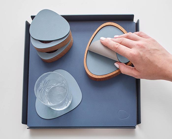 北歐櫥窗 LIND DNA|NUPO 皮革杯墊(曲線、軍綠)