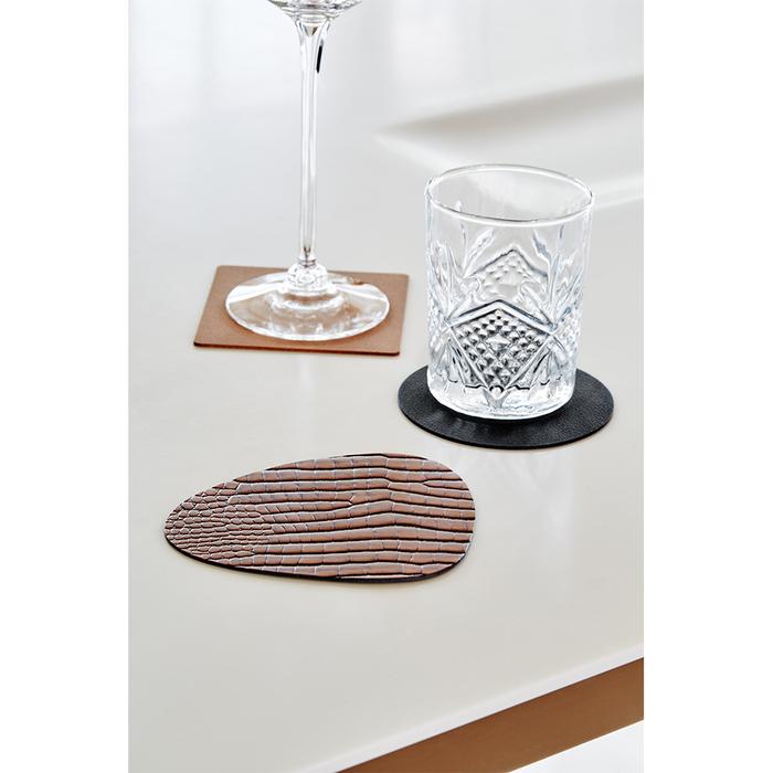 北歐櫥窗 LIND DNA|NUPO 皮革杯墊(方形、棕)