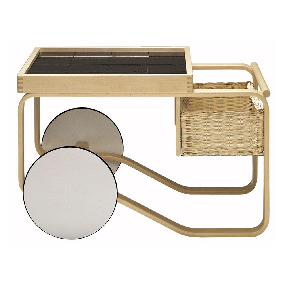 北歐櫥窗 Artek|Tea Trolley 900 瓷桌藤籃白輪茶几