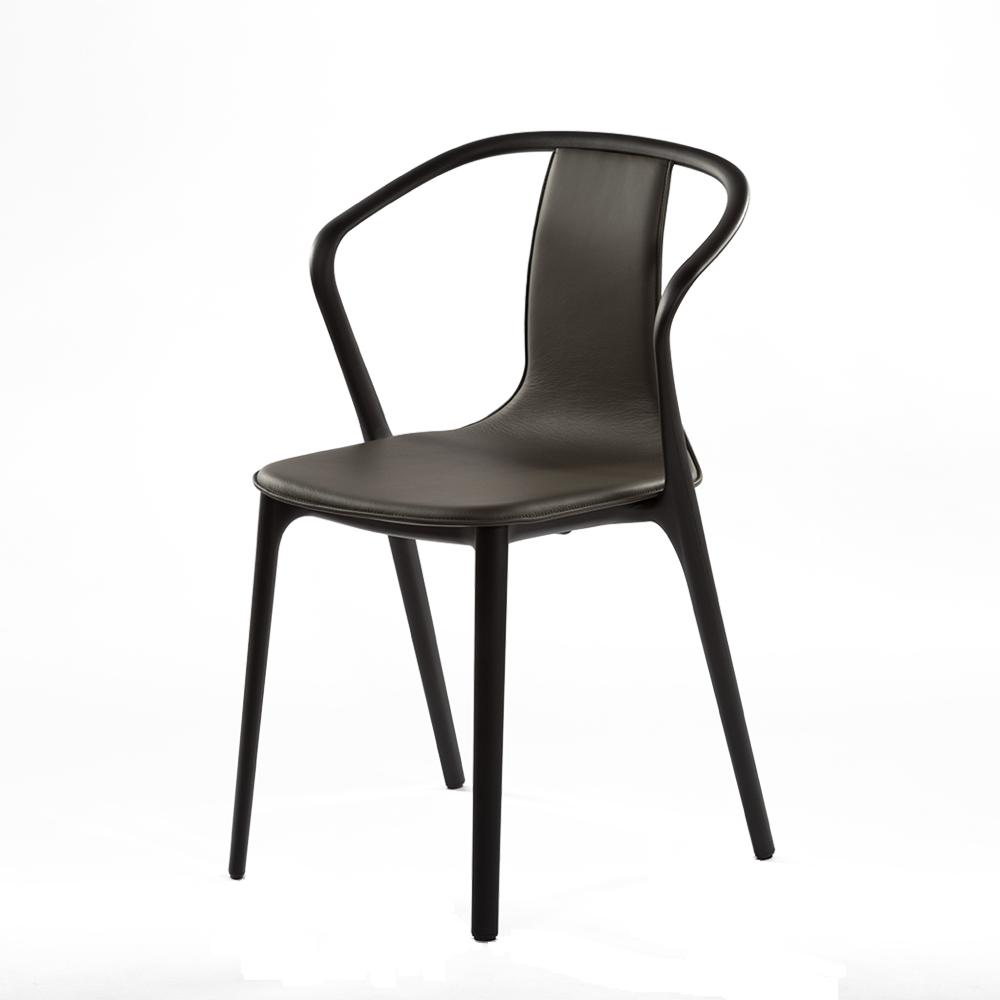 北歐櫥窗 Vitra|Belleville Armchair 美麗城扶手椅(灰黑皮革)
