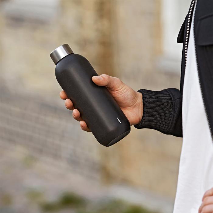 北歐櫥窗 Stelton|Keep Cool 保溫保冰隨行瓶(600 ML、山石黑)