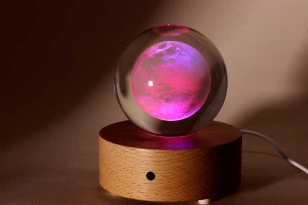 賽先生科學工廠 月球水晶禮盒(含發光底座)