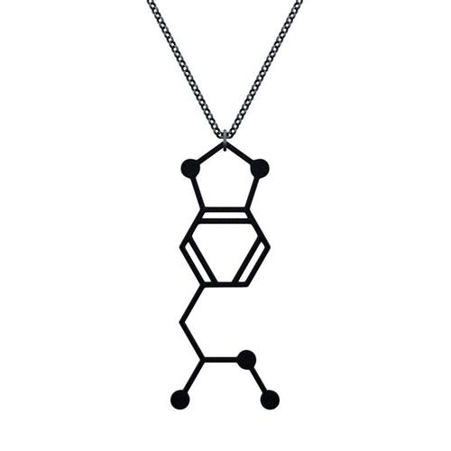 賽先生科學工廠|MDMA-搖頭丸分子項鍊-磨砂黑