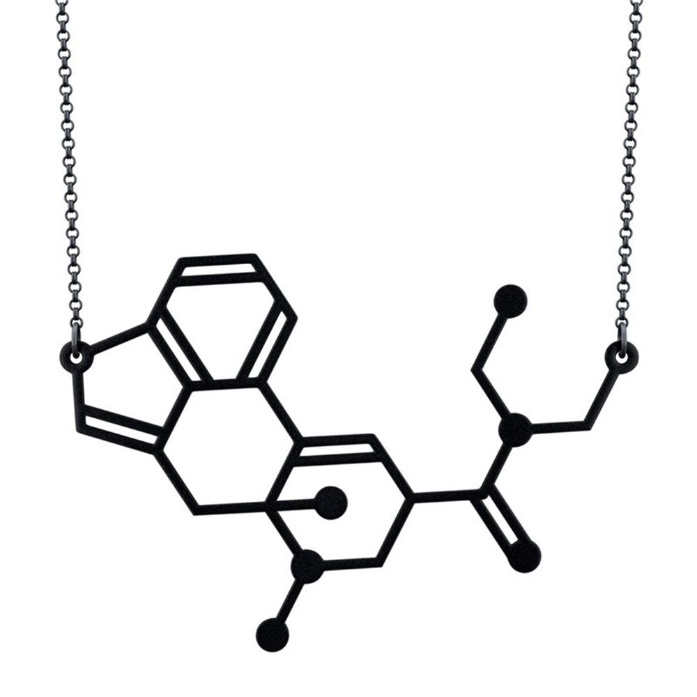 賽先生科學工廠|LDS迷幻藥 改變心情的分子項鍊-磨砂黑