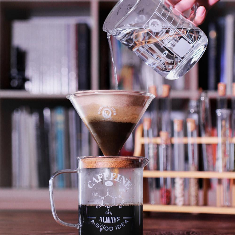 賽先生科學工廠|理科手沖-咖啡就是人生(咖啡燒杯+漏斗套組)