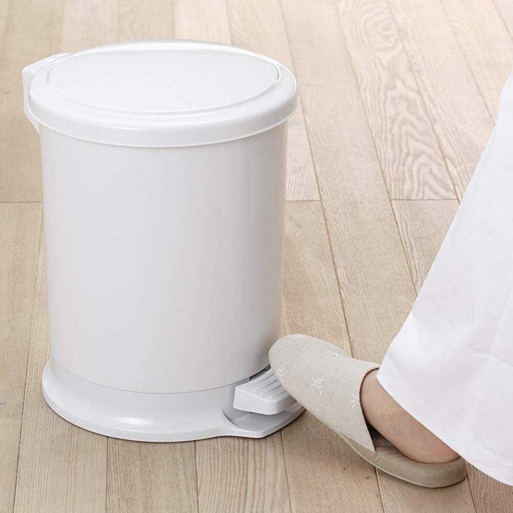 diese-diese|H&H 圓筒造型踩踏垃圾桶 10L - 灰白色