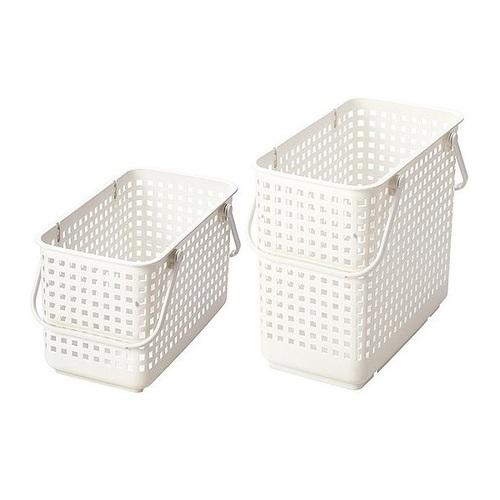 日本Like-it |[窄款]隙縫型多功能可堆疊含蓋收納籃 洗衣籃(二層組)